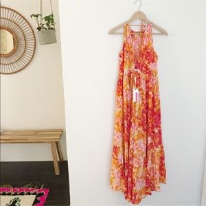 Tracy Reese Floral Silk Tiered Halter Maxi Dress